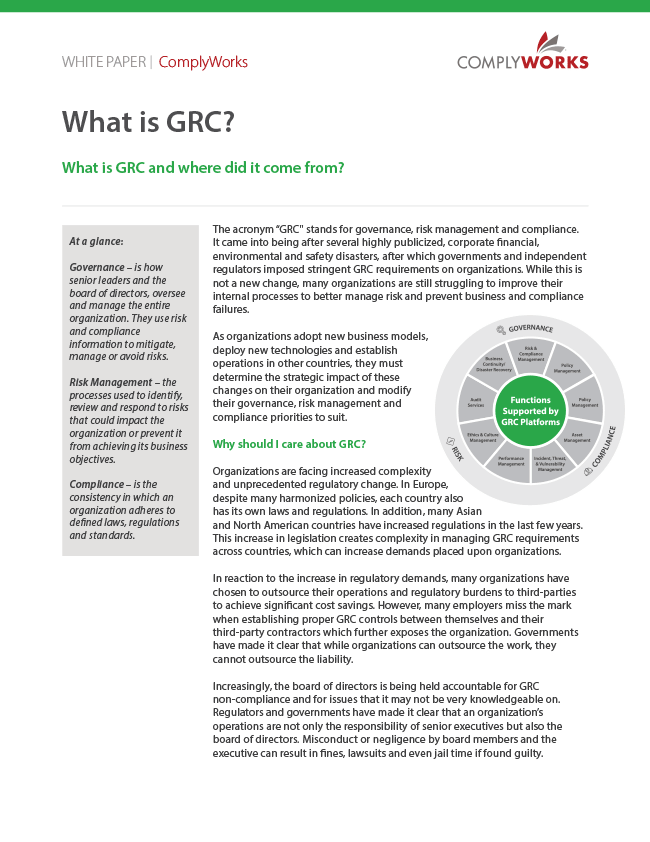 Image of ComplyWorks' What is GRC White Paper