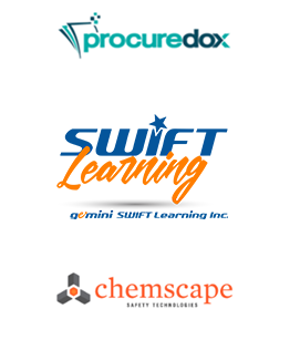 Logos of ComplyWorks' Solution Provider Partners: Swift Learning, Chemscape and ProcureDox