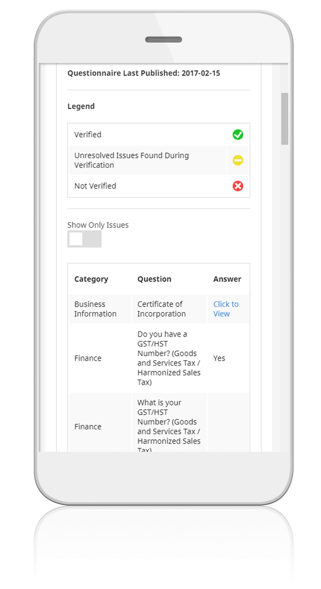 Smartphone with a screenshot of ComplyWorks' verification report