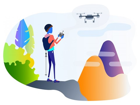 Cartoon of someone flying a drone in the mountains