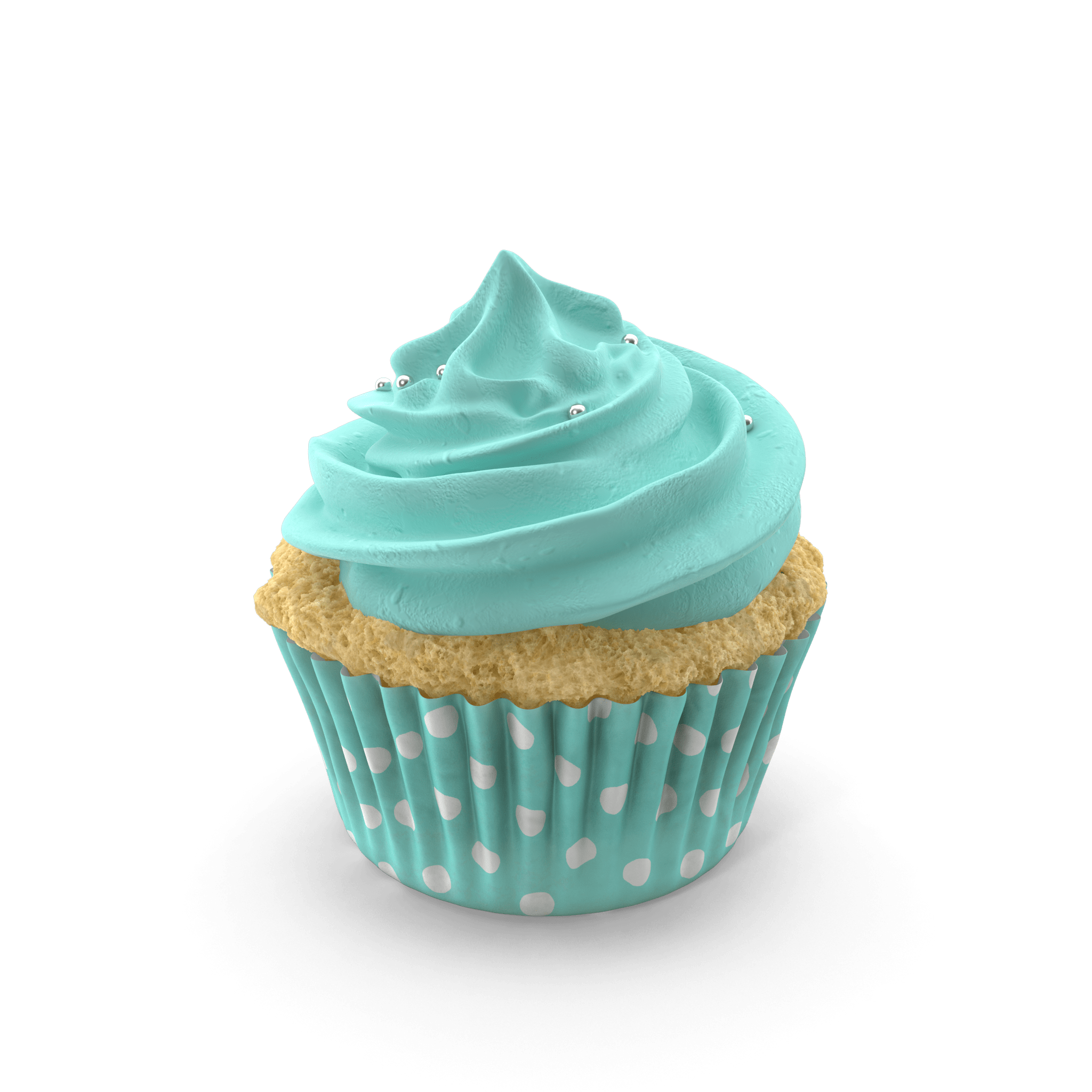 White cupcake with blue icing and wrapper